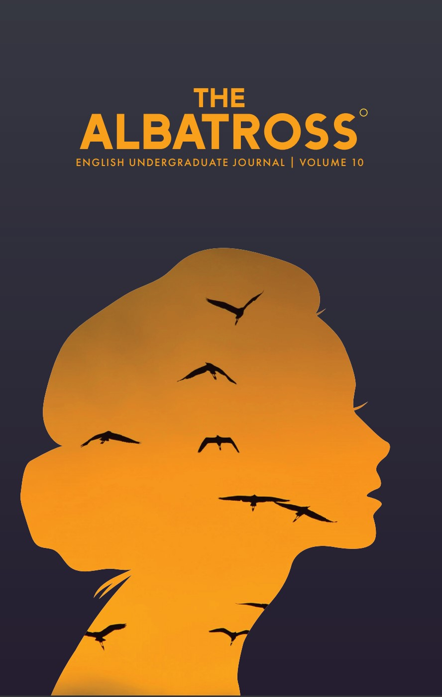 Albatross Volume 10 cover featuring the title and a silhouette of a woman's head with birds flying across an orange backdrop.